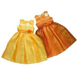 子ども服 パーティ ドレス オレンジパーティ ふんわりシルエットのノースリーブシフォンドレス(濠Du) 子供服100〜130cm 結婚式 発表会 adorable