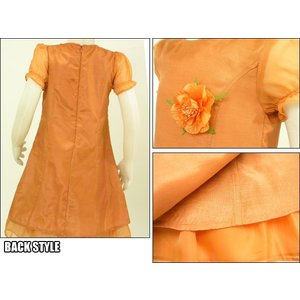 オレンジパーティ タイトなシルエットのお上品ドレスワンピ(濠Du) 子供 服 インポート・100〜130cm結婚式 発表会 ドレス|adorable|02