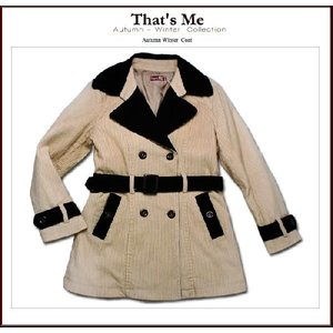 子ども服 コーデュロイロングコート ベージュストライプ 125cm ベルト付き(濠Me)  セール 子供服|adorable