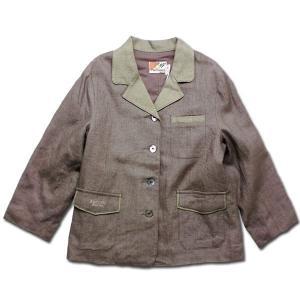 麻混テーラードジャケット 綿100%裏地付きフォーマルジャケット 天然の貝殻ボタン使用 子供服・男の...