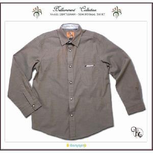子ども服 刺繍入りフォーマルに映える高級感ある裏前立て小技を利かせた粋な長袖シャツ(JPBt) 面接 子供服男の子ジュニア ライトブラウン 150-170cm|adorable