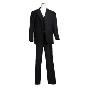 子ども服 子供服 高級仕立てのフォーマルスリーピース(ジャケット+ベスト+パンツ3点セット)(JPBt)ブラック 125-140cm adorable