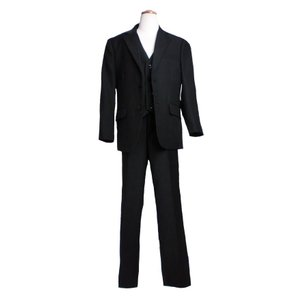子供服 訳あり 高級仕立てのフォーマルスリーピース(ジャケット+ベスト+パンツ3点セット)(JPBt)ブラック 145-170cm adorable