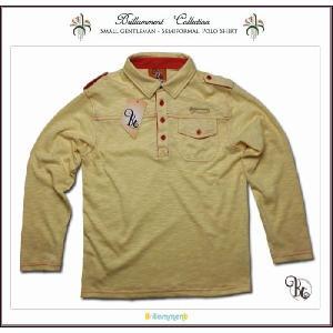 子ども服 王子様の普段着 刺繍入りフォーマルに映える高級感ある長袖ポロシャツ(JPBt)子供服男の子キッズ ジュニア ディーン イエロー 150cm 160cm 170cm|adorable