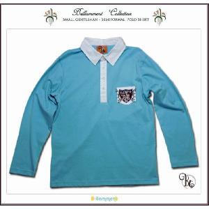 王子様の普段着 刺繍入りフォーマルに映える高級感ある長袖ポロシャツ(JPBt)子供服男の子キッズ ジュニア ティーン ライトブルー 150cm 160cm 170cm|adorable
