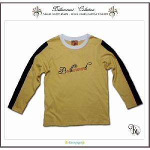 子ども服 王子様の普段着 刺繍入りフォーマルに映える高級感ある長袖Tシャツ(JPBt)子供服男の子 イエロー 120cm 130cm 140cm adorable