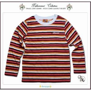 子ども服 王子様の普段着 刺繍入りフォーマルに映える高級感ある薄手ボーダー柄長袖Tシャツ(JPBt)子供服男の子 ブラウンストライプ 120cm 130cm 140cm adorable