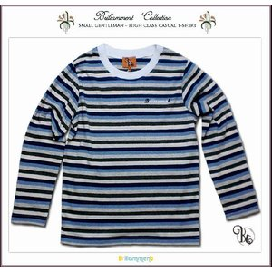 王子様の普段着 刺繍入りフォーマルに映える高級感ある薄手ボーダー柄長袖Tシャツ(JPBt)子供服男の子 グレーストライプ 120cm 130cm 140cm adorable