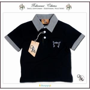 英国紳士気品千鳥シャツ襟 ブランドロゴと貴族紋章刺繍入り高級感ある半袖ポロシャツ(JPBt)子供服 男の子 キッズ ベビー 85cm-110cm|adorable