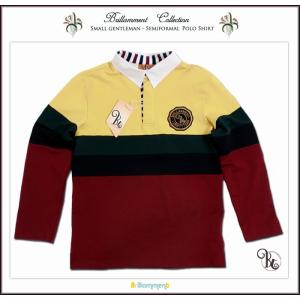 子ども服 長袖 ポロシャツ キッズ 130 140cm 子供服 男の子 貴族の紋章刺繍入り(JPBt) イエロー/バーガンディ ジュニア ティーンズ 子ども 誕生日|adorable