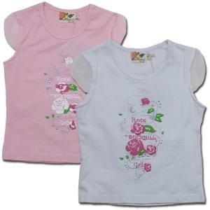 子供服 春夏 セール ローズガーデン オーガンジー袖 涼しげ 花柄 Tシャツ(濠Du)  輸入 ブランド こども服 100cm adorable