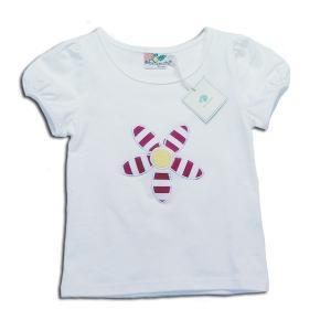 子供服 春夏 セール キュートなアップリケーションの花柄刺繍がかわいいパブスリーブTシャツ(濠Du)85-95cm adorable