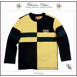 トレーナー 英国 貴族紋章刺繍入り セーター風に ブリティッシュ スエット ニット 長袖Tシャツ(JPBt)子供服 120-140cm イエロー|adorable