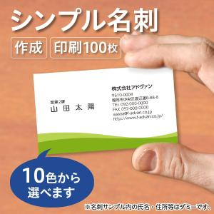 名刺作成 印刷 オリジナル カラー100枚 選べる10色 ビジネス テンプレートで簡単作成 初めてでも安心   b048|advan-printing