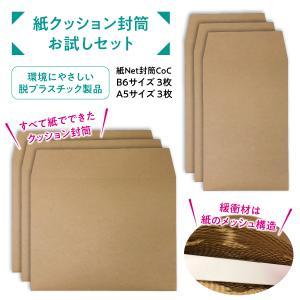 宅配封筒 紙だけでできたクッション封筒 A5・B6 お試し6枚 紙Net封筒 梱包材 クラフト 薄い エコ 脱プラスチック advan-printing