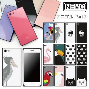 iPhone XR ケース iPhone XS ケース iPhone 11 ケース iPhone 11 Pro XS Max X 8 7 8Plus 7Plus ケース ガラス 四角 アニマル NEMO|advan