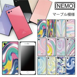 iPhone11 ケース ガラス iPhone8 ケース iPhone11Pro ケース iPhone XR ケース iPhone 11ProMax XS XSMax X 7 8Plus 7Plus ケース スクエア マーブル NEMO|advan