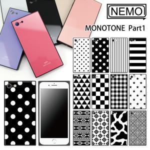 iPhone8 ケース ガラス iPhone11 ケース iPhone11Pro ケース iPhone XR ケース iPhone 11ProMax XS XSMax X 7 8Plus 7Plus ケース スクエア モノクロ NEMO|advan