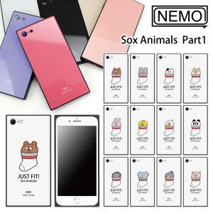 iPhone XR ケース iPhone XS ケース iPhone 11 ケース iPhone 11 Pro XS Max X 8 7 8Plus 7Plus ケース ガラス 四角 靴下アニマル NEMO|advan