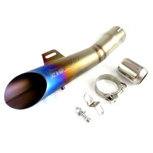 チタン風ステンレス製MotoGP風サイドスラッシュカット 汎用スリップオンマフラー  外径約35〜5...