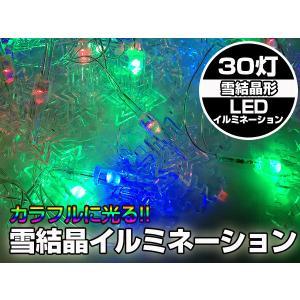 X'mas 30個の雪の結晶LEDが輝く イルミネーション|advanceworks2008