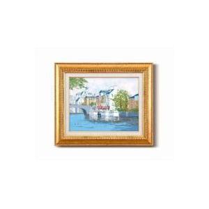 (送料無料)黒沢 久油絵額F6金 「運河の風景」 1110340|advanceworks2008