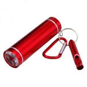 (送料無料)ホイッスル付LED懐中電灯 レッド|advanceworks2008