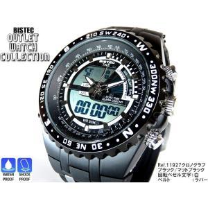 BISTEC デジタル腕時計デカ顔 回転ベゼルブラック/マッドブラック 得トク2WEEKS0528|advanceworks2008