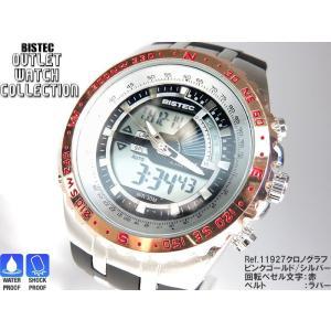 BISTEC デジタル腕時計デカ顔 回転ベゼルピンクゴールドシルバー/文字赤 得トク2WEEKS0528|advanceworks2008