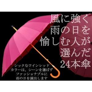 雨の日をお洒落に♪風にも強い24本傘ワインレッド 送料無料|advanceworks2008