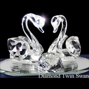 ガラス製置物 白鳥ペアスワン 得トク2WEEKS0410|advanceworks2008