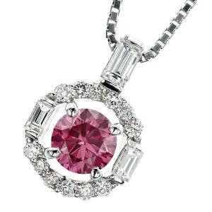 ピンクダイヤモンド ネックレス 0.340ct VS2-FANCY VIVID PURPLISH P...