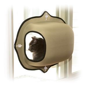 マウントウィンドウポット タン(ベージュ) 日本初!強力吸盤による窓取付型の猫ベッド