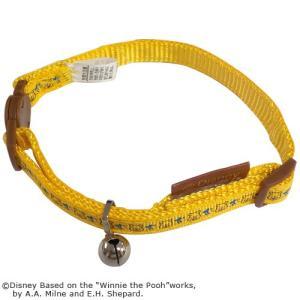 【特価6/3迄】猫 首輪 安全 おしゃれ かわいい 鈴付き 黄色 セーフティ くまのプーさん ディズニーキャラクター 布