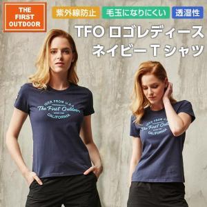 Tシャツ ネイビーロゴ 紺 レディース S-XL 透湿 UVカット 半袖 春 夏 The First Outdoor アウトドアウエア TFO-613752|aetonyx