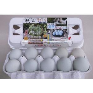 青い卵 アローカナ卵「青空」10個入¥1,620円 野外で自由に生活させた健康鶏の美味しい卵。卵かけご飯に!卵料理やスイーツにもお薦めの卵