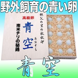 高級卵「青空(あおぞら)」アローカナの青い卵 20個木箱入¥4,320