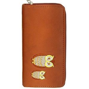 幸運のシンボル!ふくろう刺繍入りラウンド長財布 [ CUTT 5181 ] 誕生日プレゼント レディース 財布 (キャメル)|afan-mori