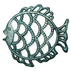 Sungmorヘビーデューティ鋳鉄かわいい脂肪魚のトリベット-17.8×19×1.9cm-レトロな素朴な外観さび止めラックスタンドホルダー、ホットパン|afan-mori