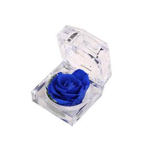 ジュエリーケース 付 青い 薔薇 プリザーブドフラワー RFIDケース付 フラワーアレンジ プレゼント 誕生日 記念日 お見舞い|afan-mori