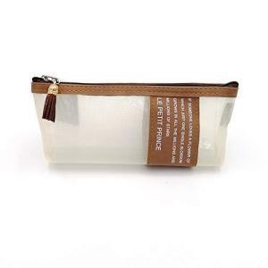 鮮やかな日々 ペンケース 筆箱 小物入り 筆入れ シンプルスタイル 半透明 メッシュ (ブラウン) afan-mori