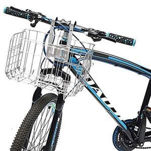 自転車カゴ 自転車用バスケット 折りたたみ式前カゴ 簡単脱着 ステンレス製 大容量 耐荷重20kg 丈夫 マウンテンバイク クロスバイク 折り畳み自転車|afan-mori
