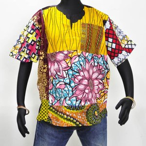 ≪アフロX'mas SALE 20%OFF≫○パッチワーク コットン シャツ ギニア製 ≪アフリカン エスニック ファッション≫|afromode