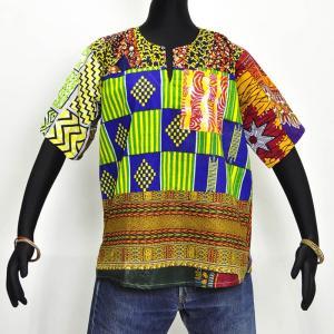 ○パッチワーク コットン シャツ ギニア製 ≪アフリカン エスニック ファッション≫|afromode