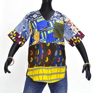 ≪アフロX'mas SALE 20%OFF≫○ギニア製 パッチワーク コットン シャツ(アフリカン トップス)|afromode