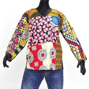 ≪アフロX'mas SALE 20%OFF≫○ギニア製 パッチワーク コットン 長袖シャツ(アフリカン トップス)|afromode