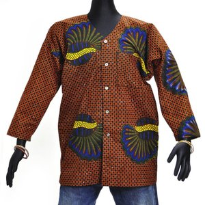 ≪アフロX'mas SALE 20%OFF≫○アフリカン襟なし長袖シャツ Lサイズ|afromode