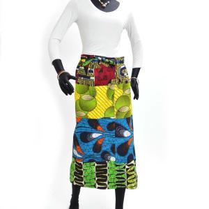 ≪23周年23%OFF!4/28まで≫○パッチワーク 腰巻きスカート (アフリカン パーニュ レディースボトムス)|afromode