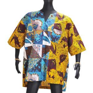 ○アフリカン スキッパーシャツ メンズLサイズ afromode