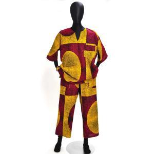 ○シャツとズボンの上下セット Lサイズ(アフリカンファッション) afromode